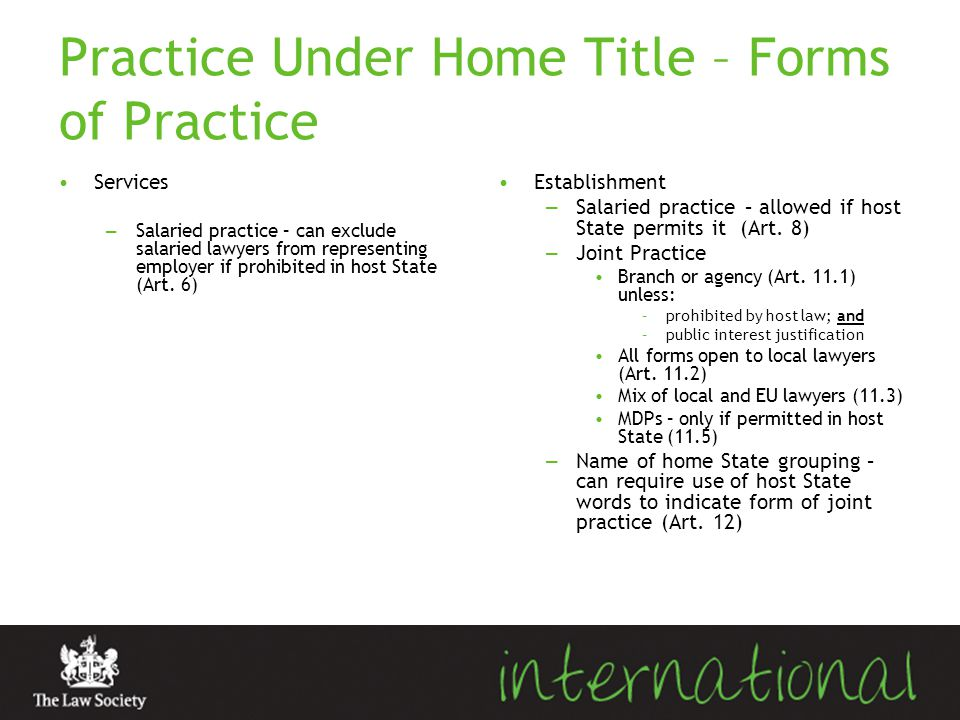 Practice Under Home Title – Forms of Practice