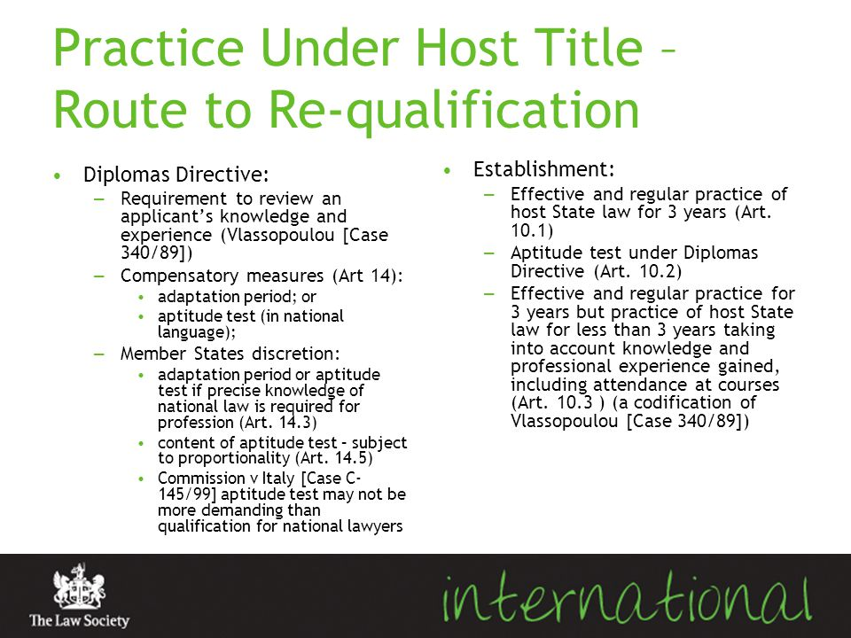 Practice Under Host Title – Route to Re-qualification