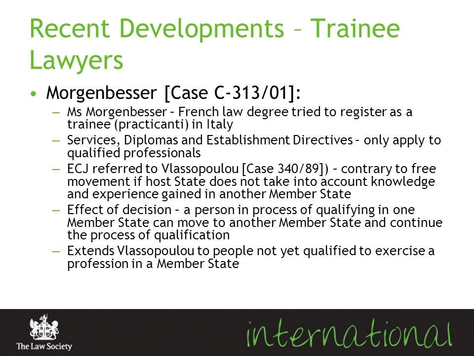 Recent Developments – Trainee Lawyers