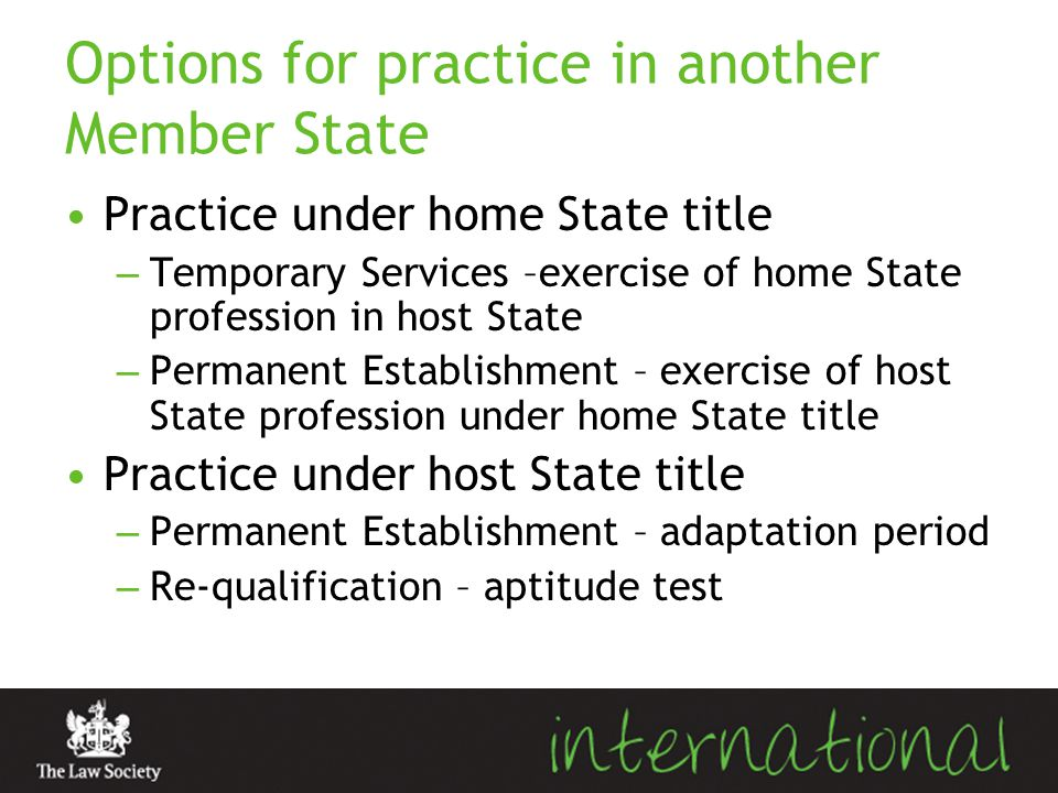 Options for practice in another Member State