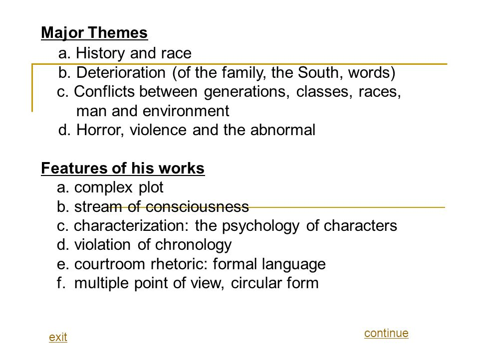 a. History and race Major Themes