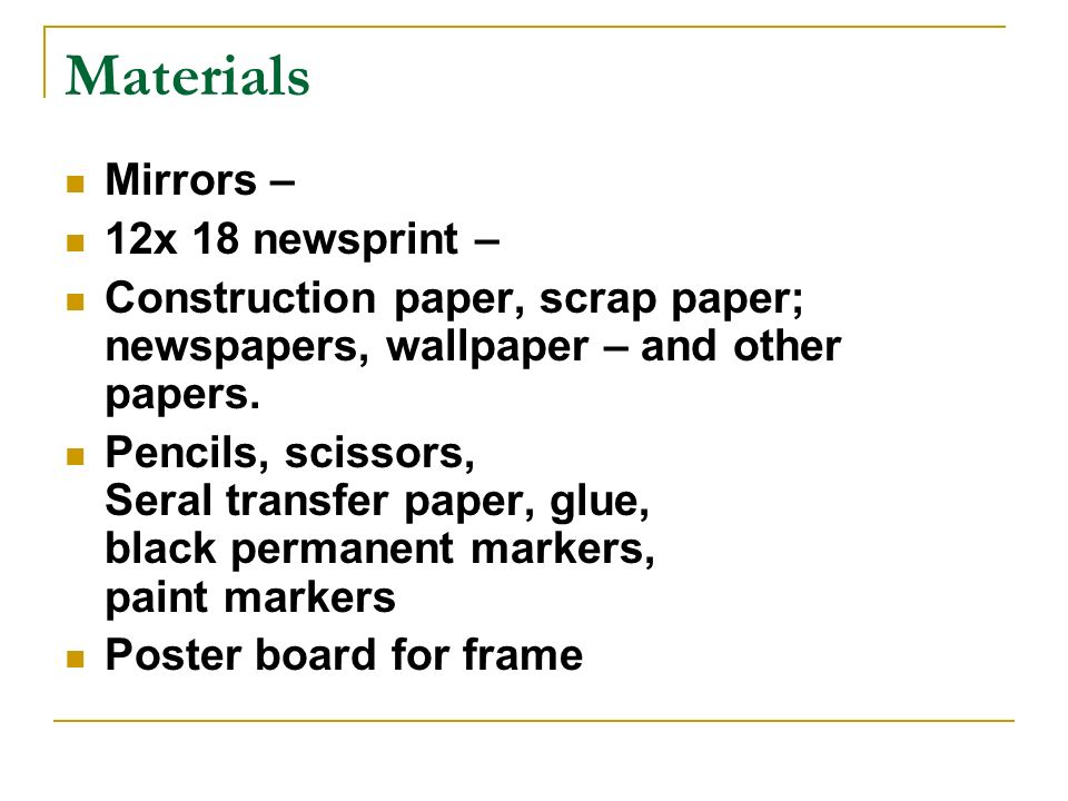 Materials Mirrors – 12x 18 newsprint –