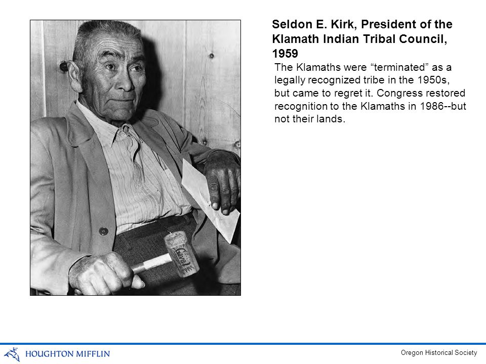 Seldon E. Kirk, President of the Klamath Indian Tribal Council, 1959