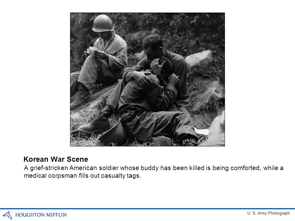 Korean War Scene A grief-stricken American soldier whose buddy has been killed is being comforted, while a medical corpsman fills out casualty tags.