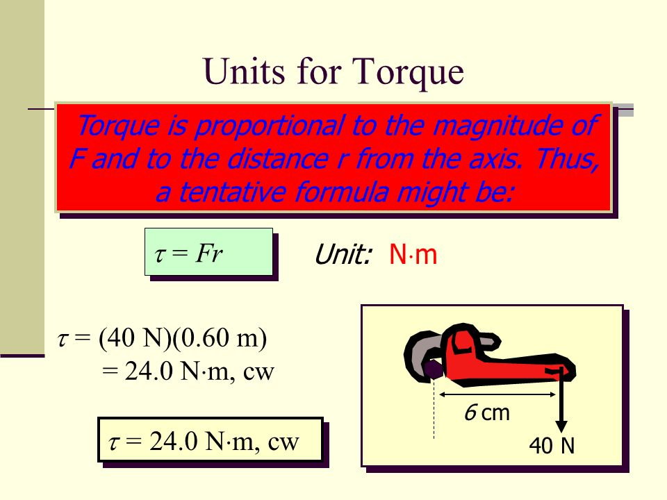 Units for TorqueTorque is proportional to the magnitude of F and to the distance r from the axis. Thus, a tentative formula might be: