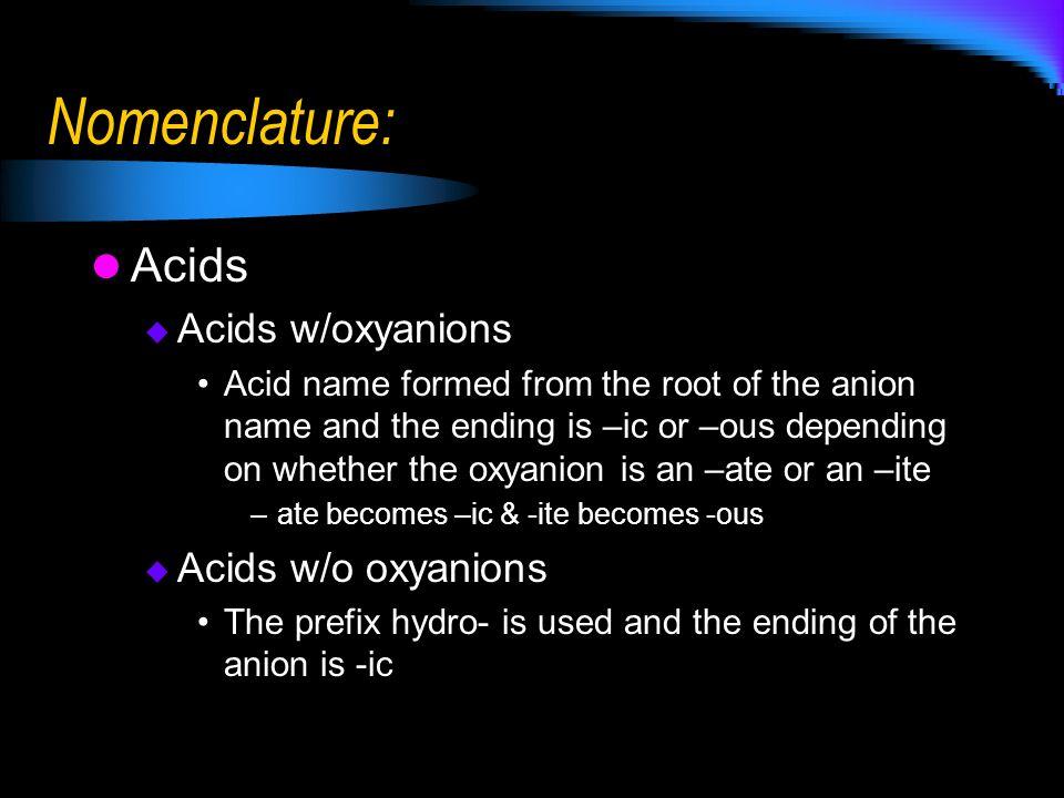 Nomenclature: Acids Acids w/oxyanions Acids w/o oxyanions