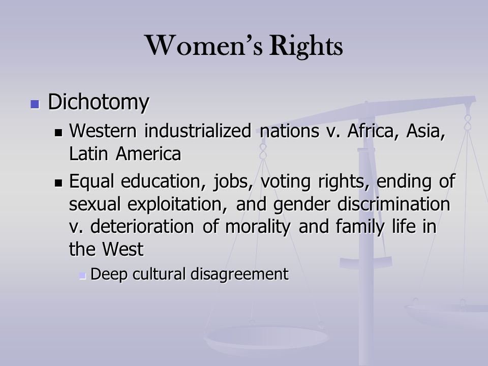 Women's Rights Dichotomy