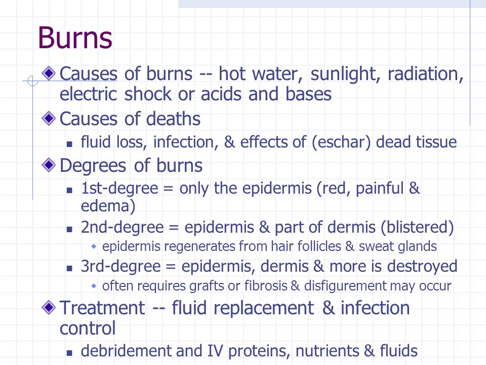 Burns Causes of burns -- hot water, sunlight, radiation, electric shock or acids and bases. Causes of deaths.