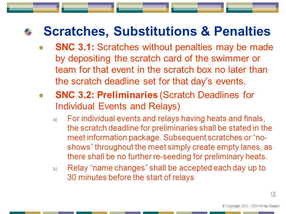 Scratches, Substitutions & Penalties