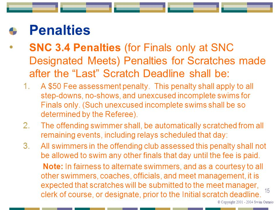 Penalties SNC 3.4 Penalties (for Finals only at SNC Designated Meets) Penalties for Scratches made after the Last Scratch Deadline shall be: