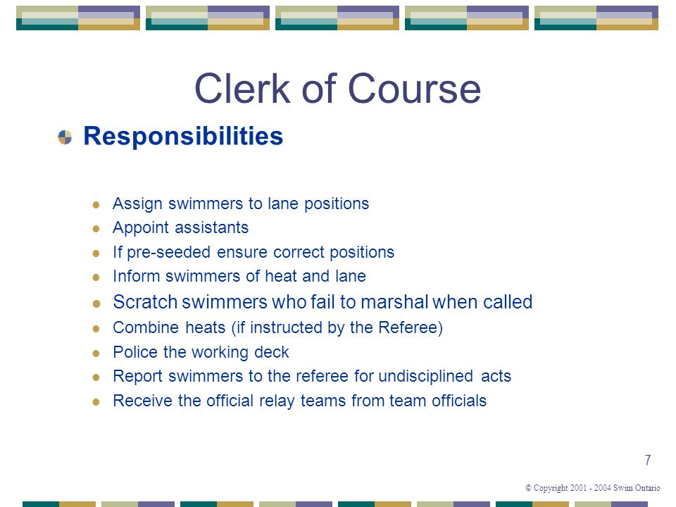 Clerk of Course Responsibilities