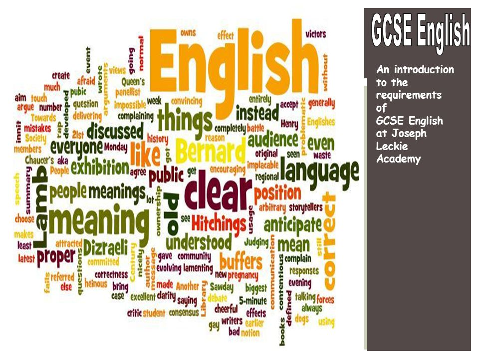 GCSE English An introduction to the requirements of