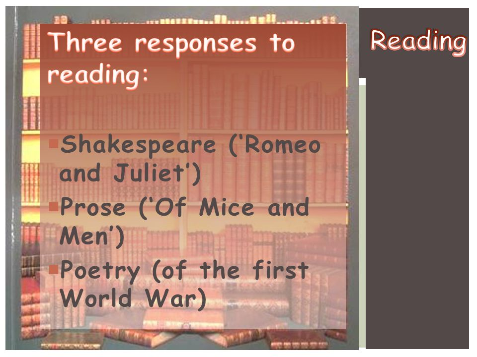 Three responses to reading: