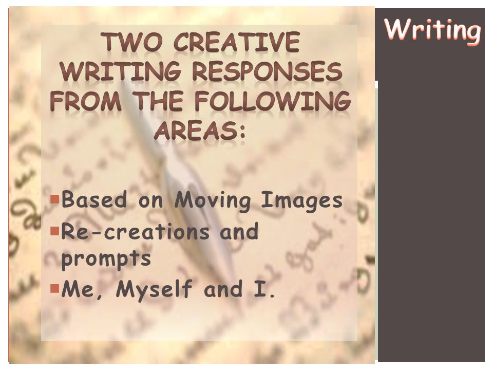 Two creative writing responses from the following areas: