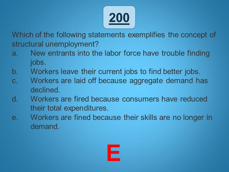 200 Which of the following statements exemplifies the concept of structural unemployment