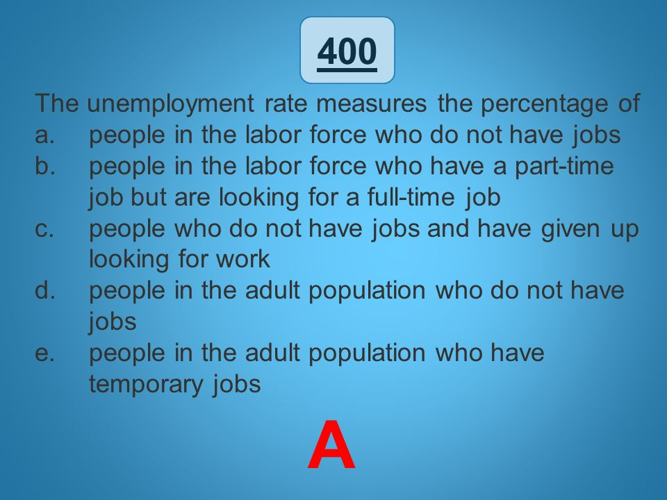 A 400 The unemployment rate measures the percentage of
