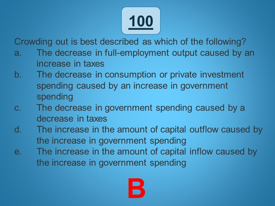 B 100 Crowding out is best described as which of the following
