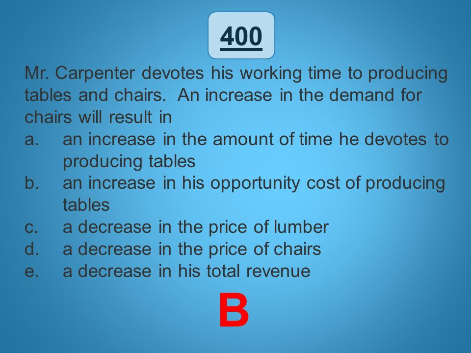 400 Mr. Carpenter devotes his working time to producing tables and chairs. An increase in the demand for chairs will result in.