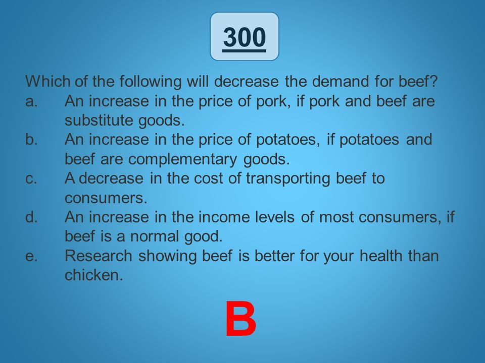 B 300 Which of the following will decrease the demand for beef