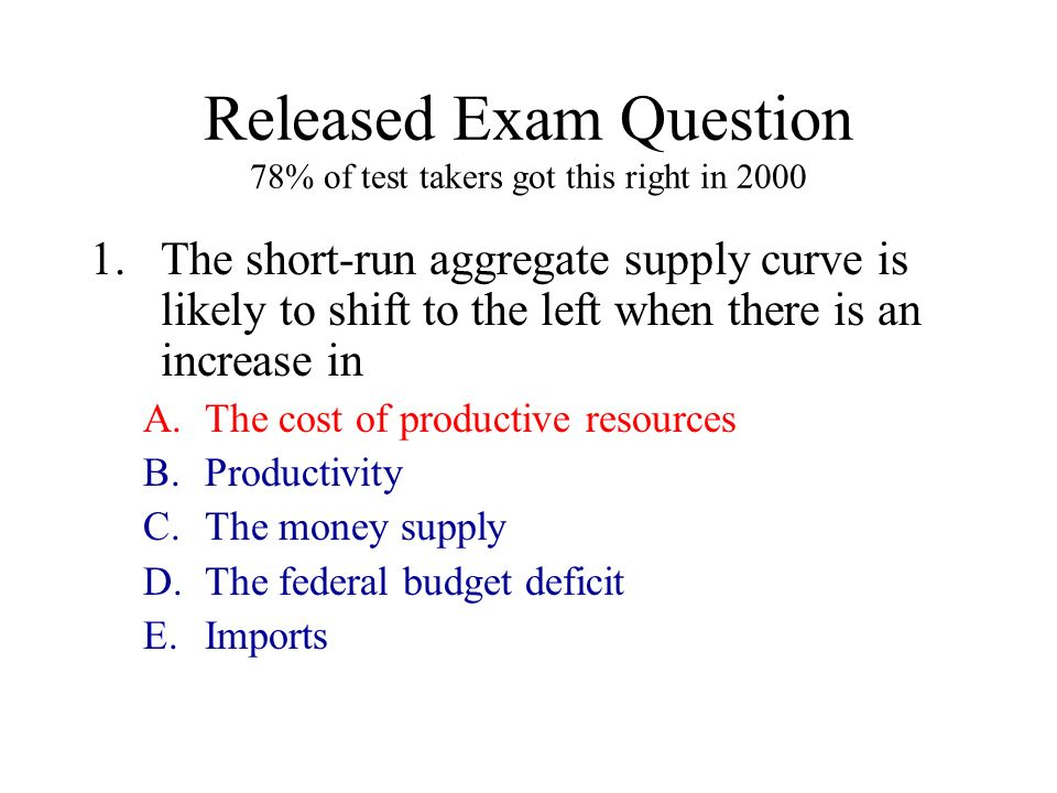 Released Exam Question 78% of test takers got this right in 2000