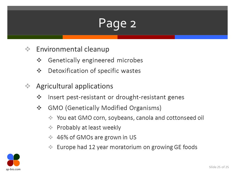 Page 2 Environmental cleanup Agricultural applications
