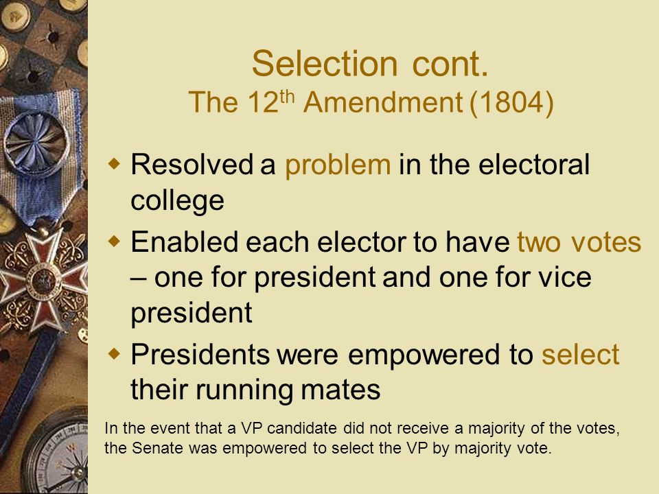 Selection cont. The 12th Amendment (1804)