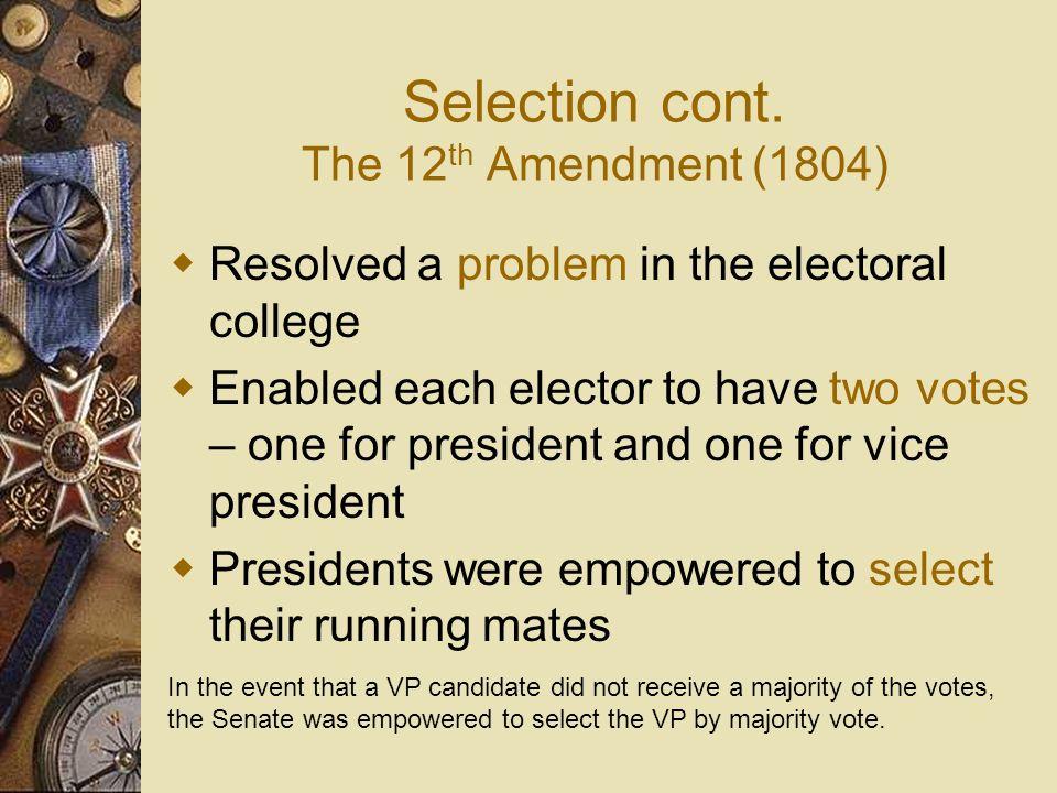 Selection cont. The 12th Amendment (1804)
