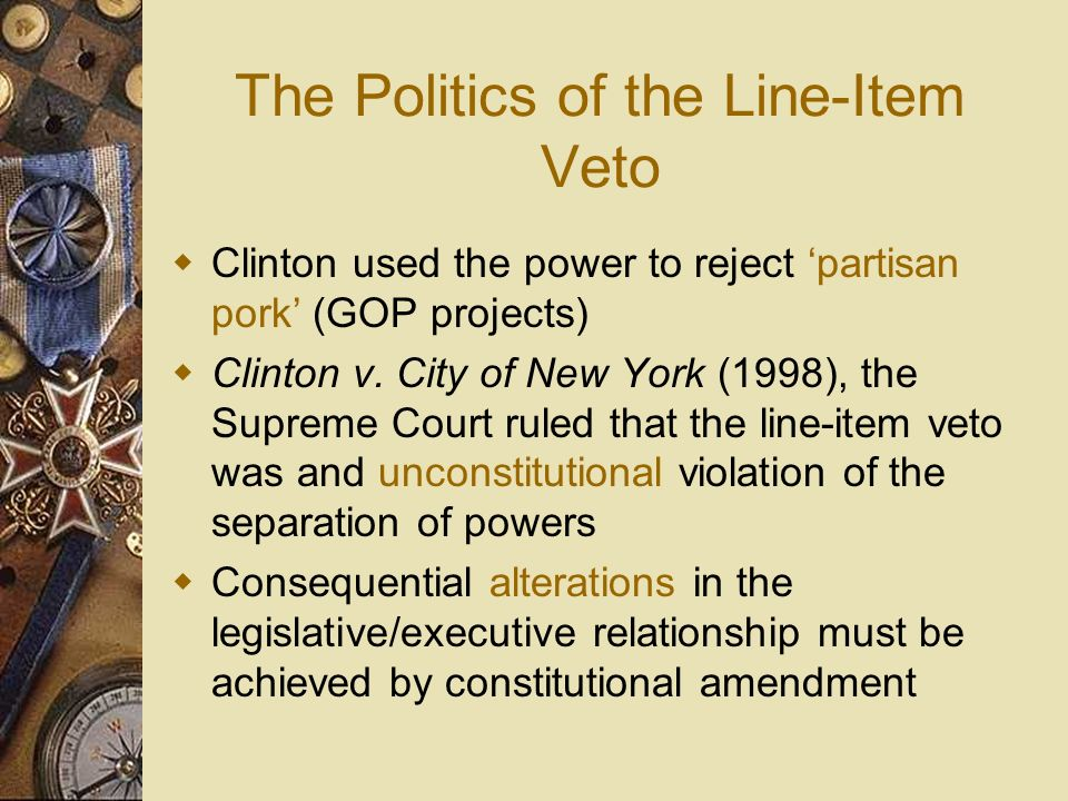 The Politics of the Line-Item Veto