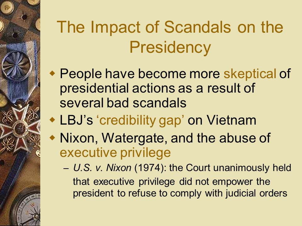 The Impact of Scandals on the Presidency