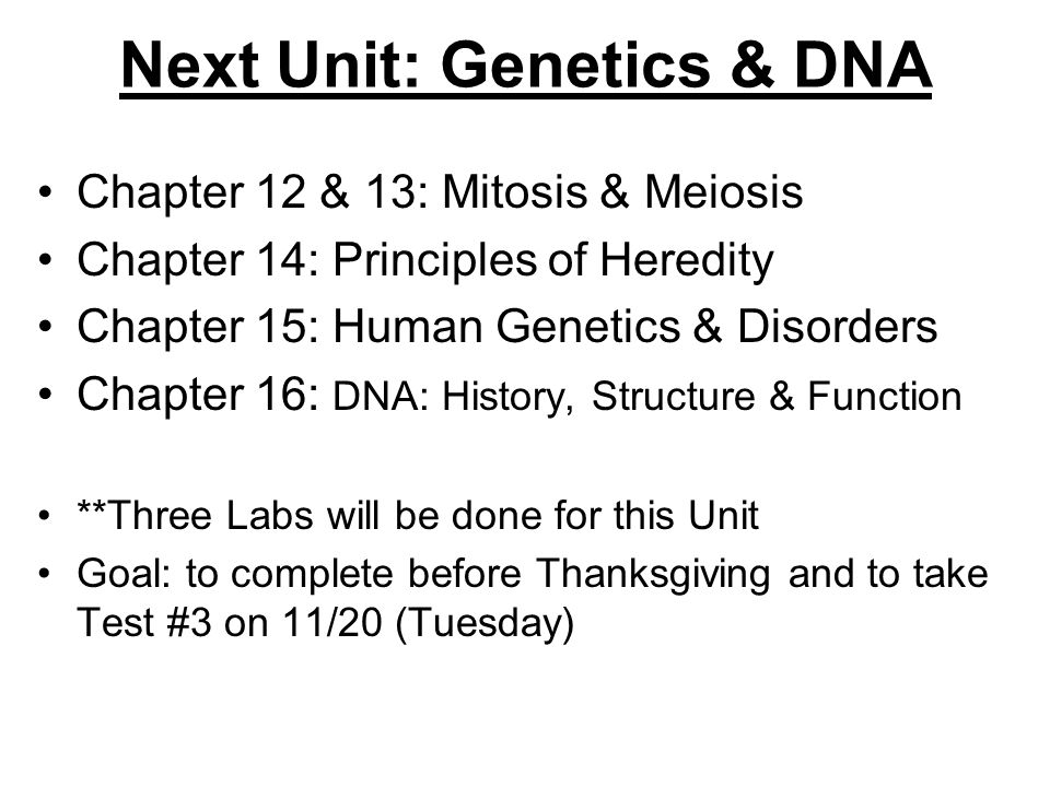 Next Unit: Genetics & DNA