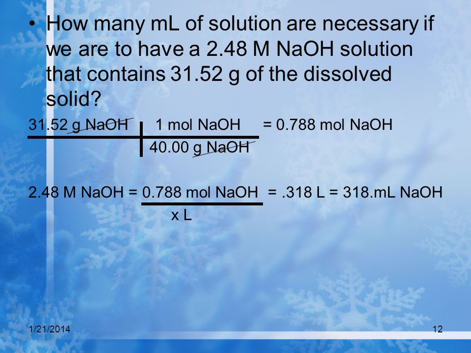 How many mL of solution are necessary if we are to have a 2