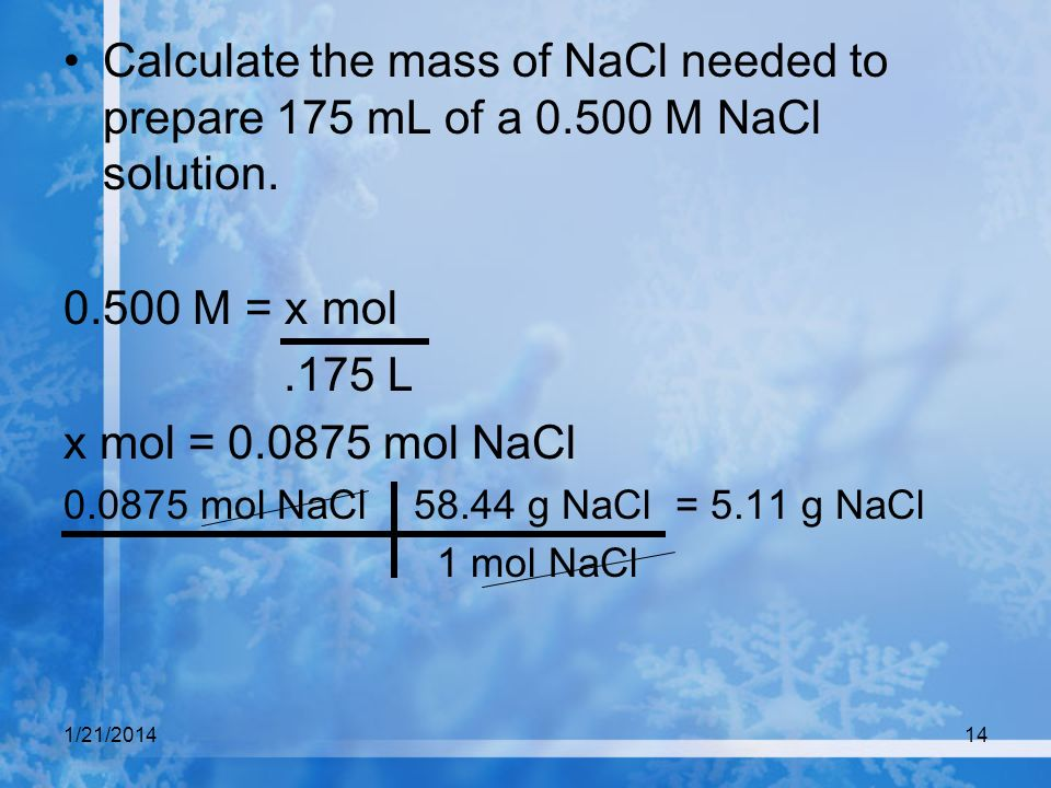 Calculate the mass of NaCl needed to prepare 175 mL of a 0