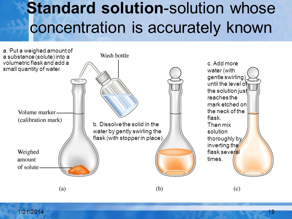Standard solution-solution whose concentration is accurately known