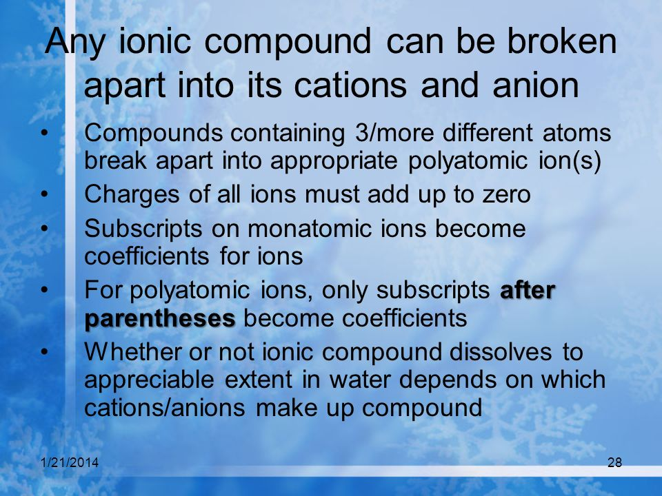 Any ionic compound can be broken apart into its cations and anion