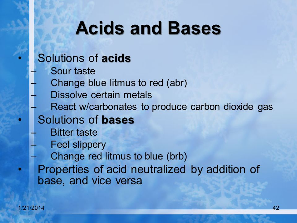 Acids and Bases Solutions of acids Solutions of bases