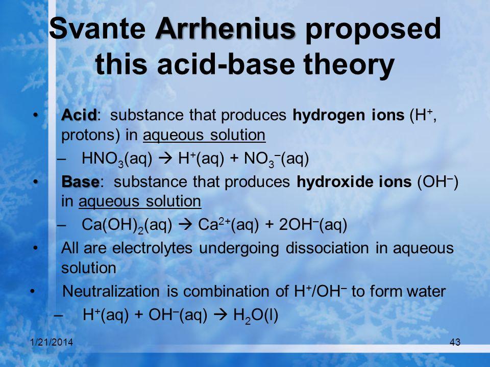 Svante Arrhenius proposed this acid-base theory