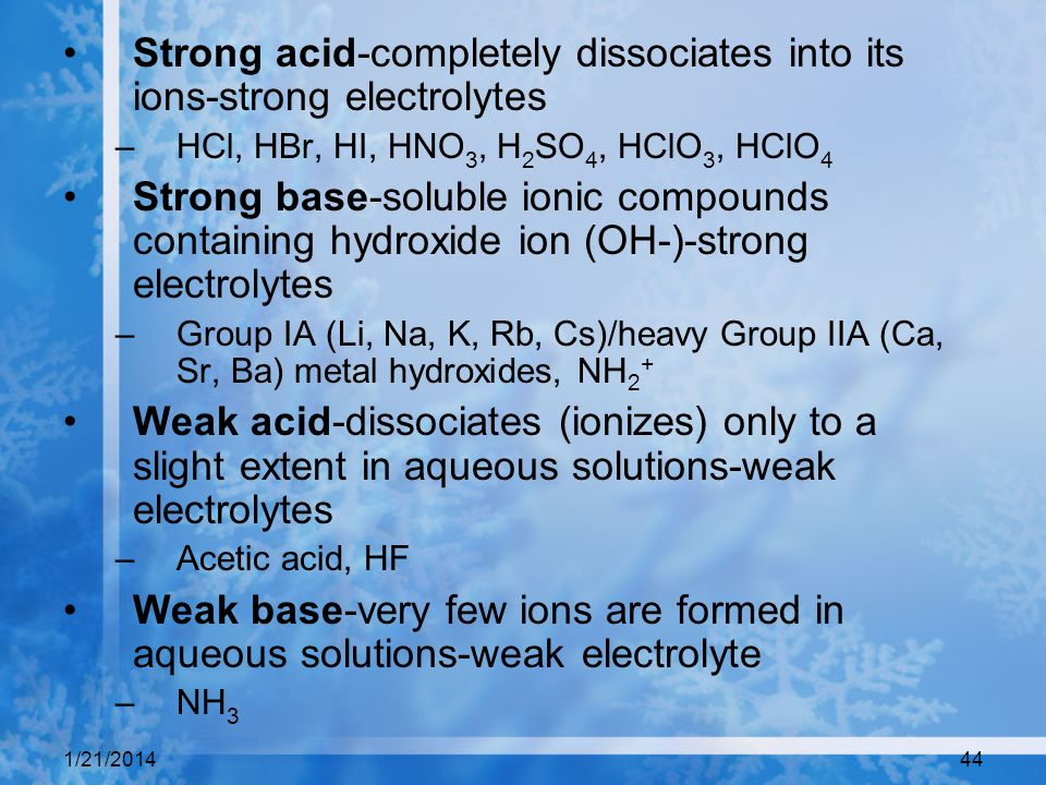 Strong acid-completely dissociates into its ions-strong electrolytes