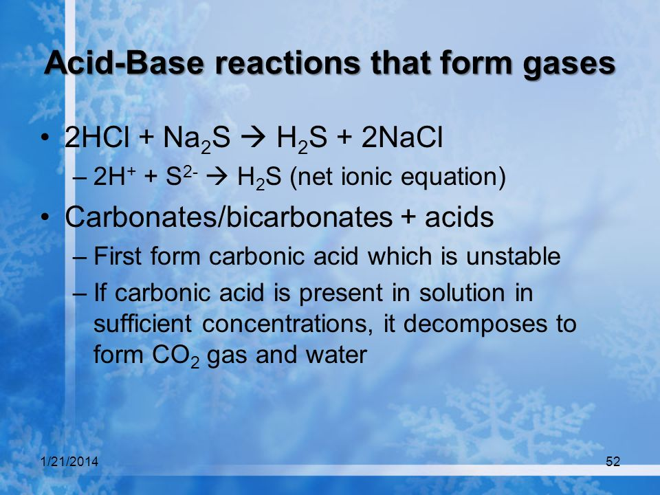 Acid-Base reactions that form gases
