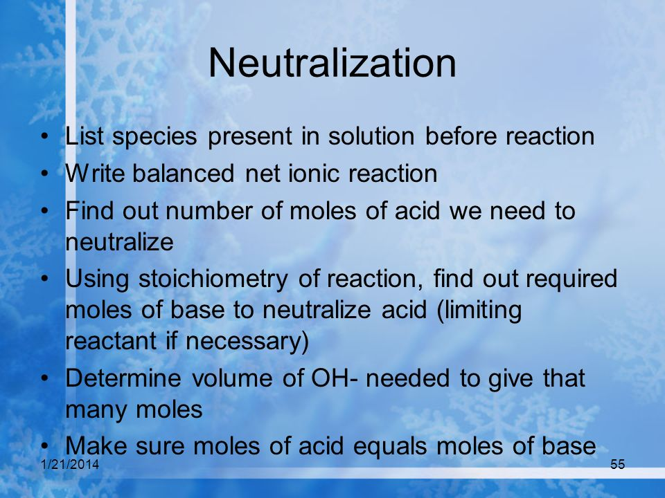 Neutralization List species present in solution before reaction