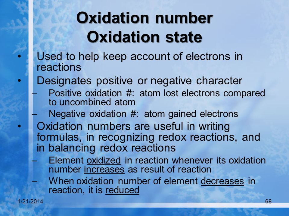 Oxidation number Oxidation state