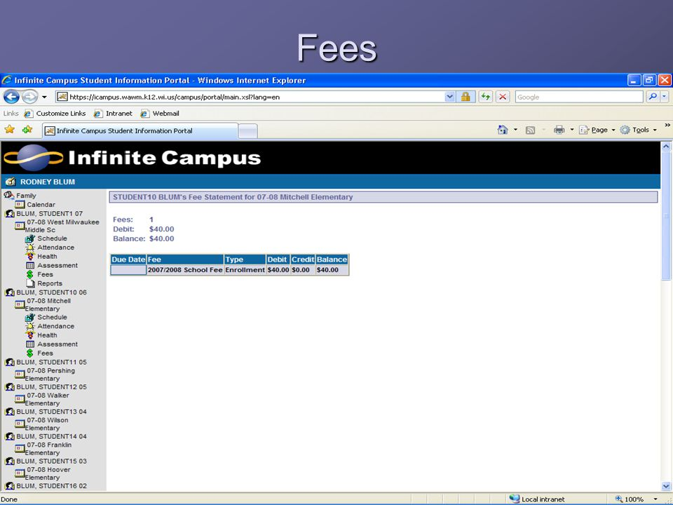 Fees The fees page reflects any past due academic or athletic fees a student may have.