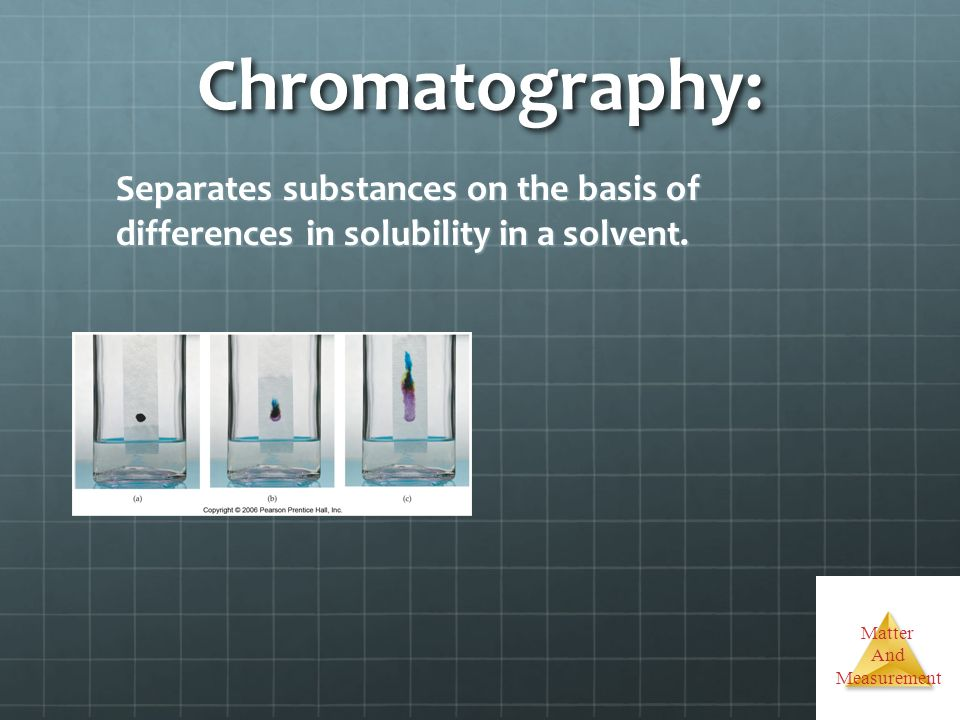 Chromatography: Separates substances on the basis of differences in solubility in a solvent.