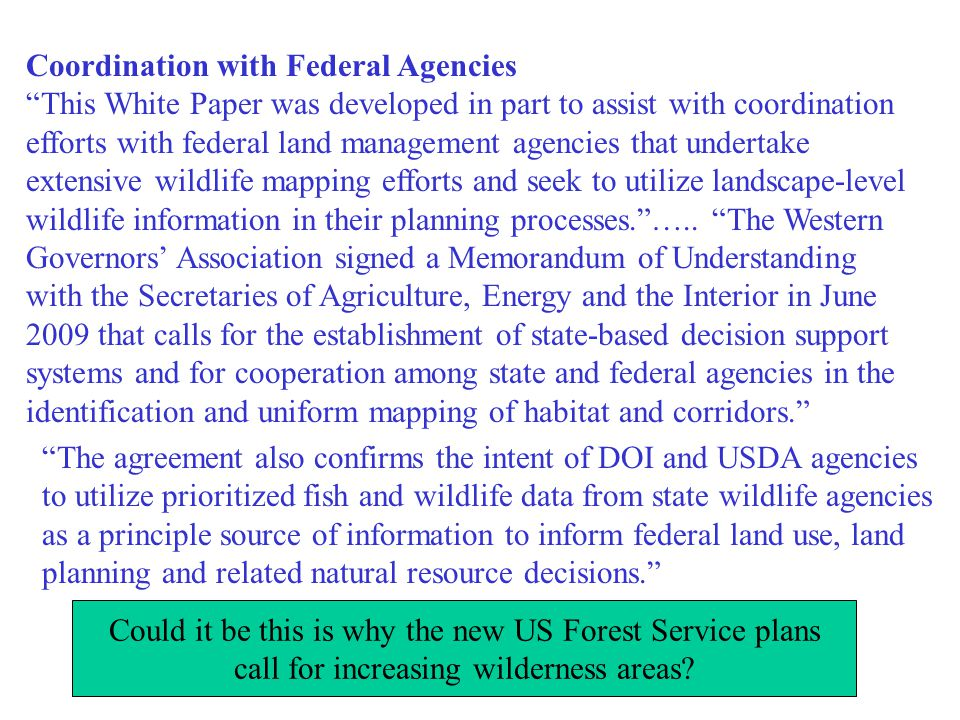 Coordination with Federal Agencies