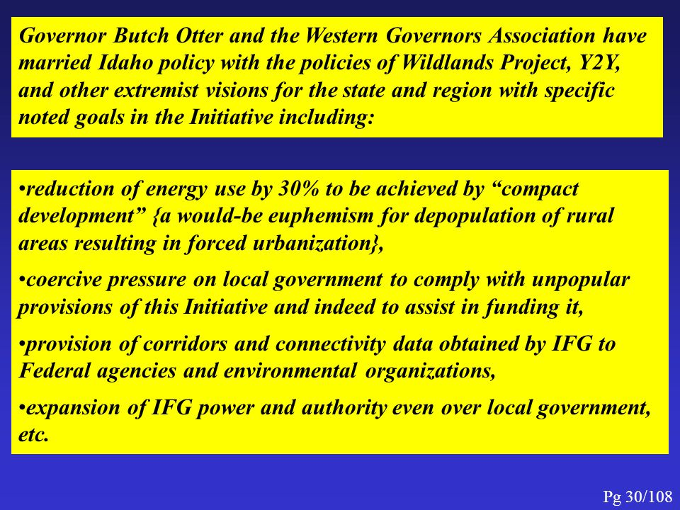expansion of IFG power and authority even over local government, etc.