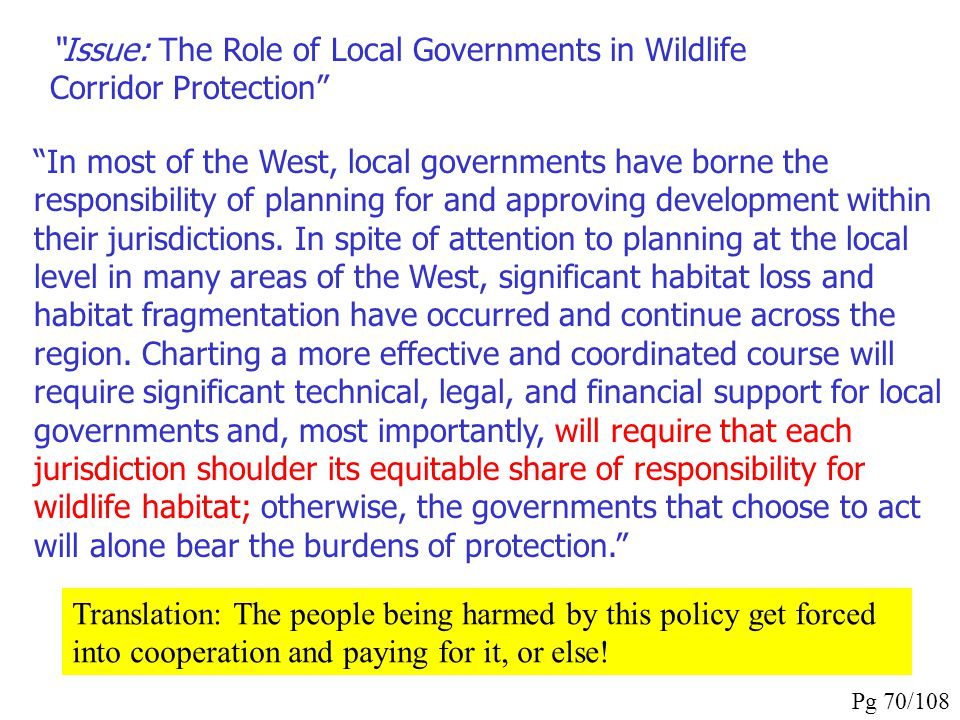 Issue: The Role of Local Governments in Wildlife Corridor Protection