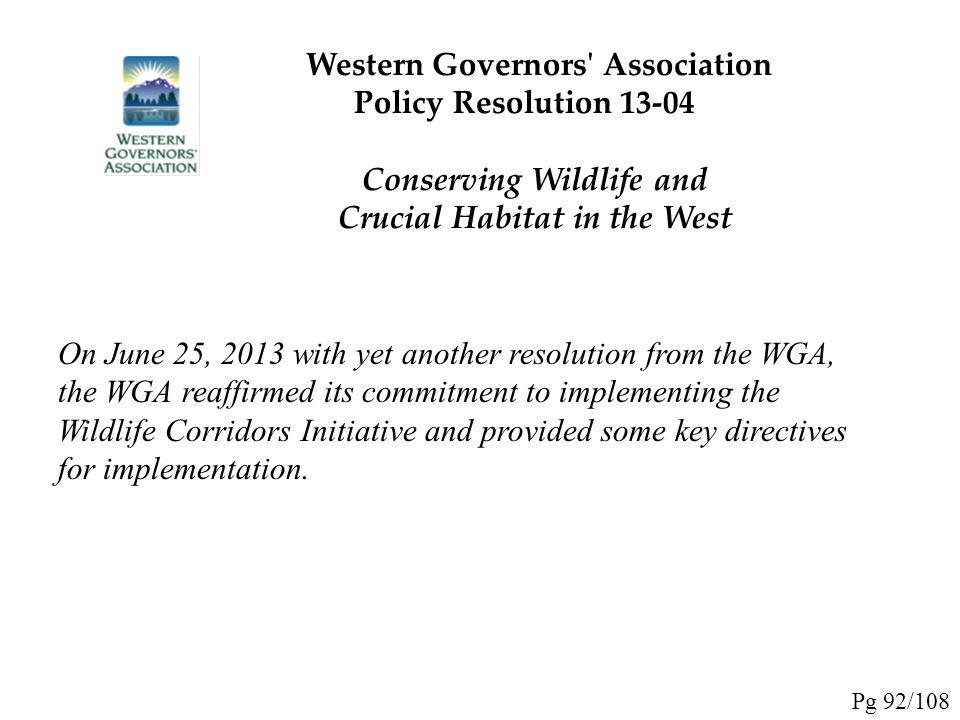 Western Governors Association Policy Resolution 13-04
