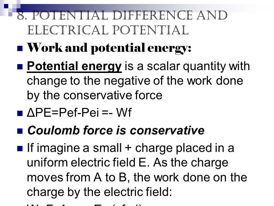 8. Potential difference and electrical potential