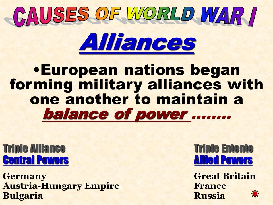 CAUSES OF WORLD WAR I Alliances. European nations began forming military alliances with one another to maintain a balance of power ……..