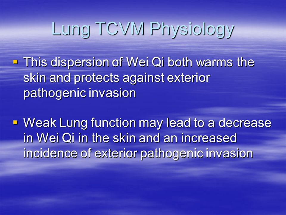 Lung TCVM Physiology This dispersion of Wei Qi both warms the skin and protects against exterior pathogenic invasion.