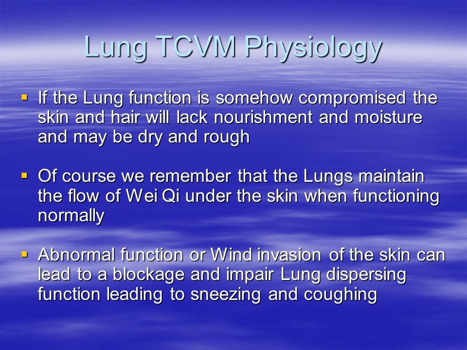 Lung TCVM Physiology If the Lung function is somehow compromised the skin and hair will lack nourishment and moisture and may be dry and rough.